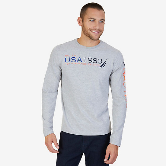 USA 1983 Long Sleeve Tee,Grey Heather,large