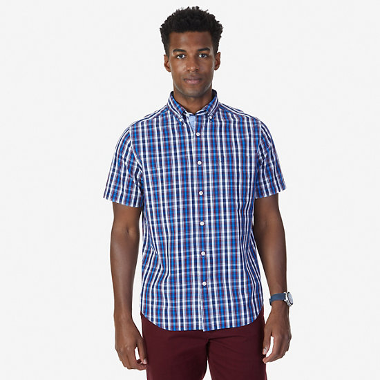 Classic Fit Navy Plaid Short Sleeve Shirt - J Navy