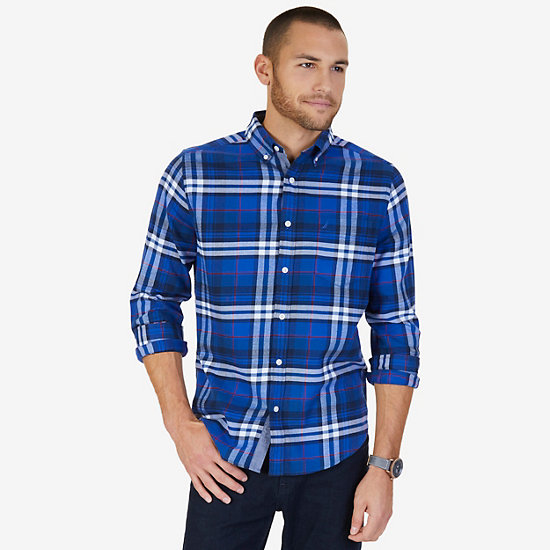 CLASSIC FIT CASUAL FLANNEL TWILL PLAID - Peacoat