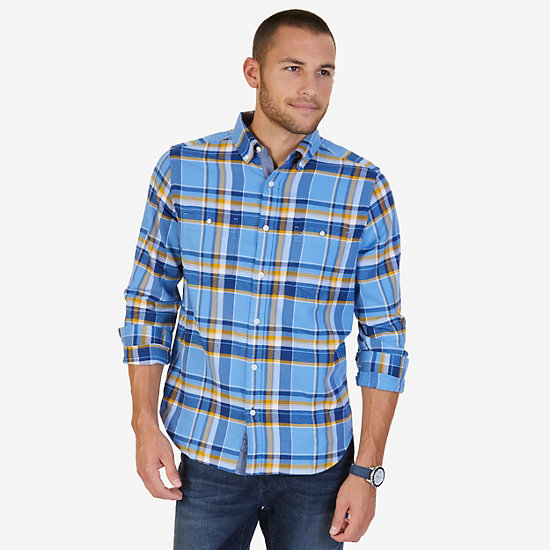 Classic Fit Plaid Flannel Shirt - Riviera Blue