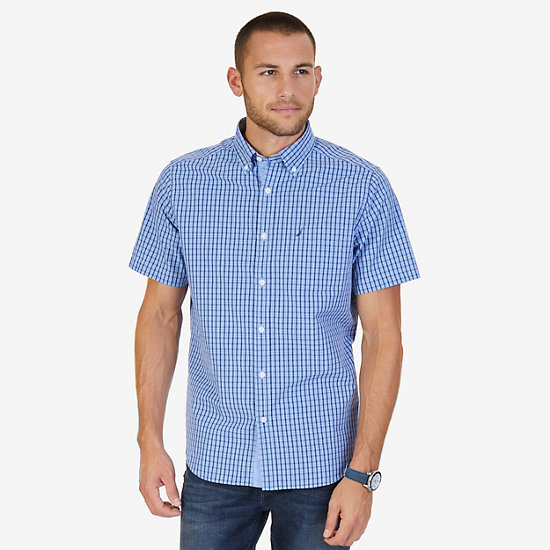 Classic Fit Plaid Poplin Shirt - Bright Cobalt