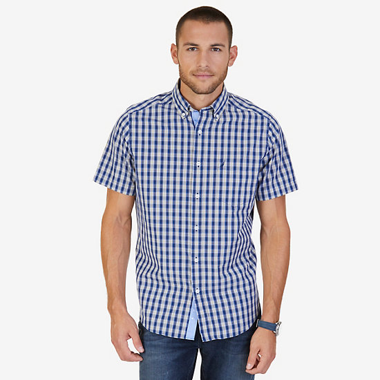 Classic Fit Checked Poplin Shirt - Bright White