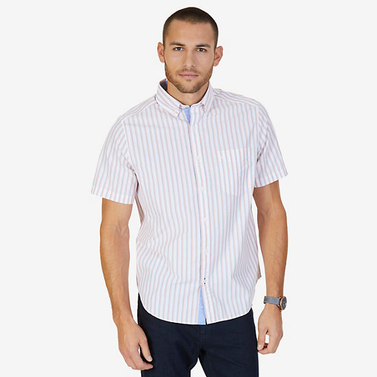Shadow Stripe Classic Fit Short Sleeve Button Down Shirt - Orange