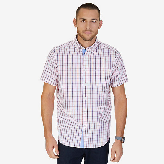 Tartan Plaid Classic Fit Short Sleeve Button Down Shirt - Bright White