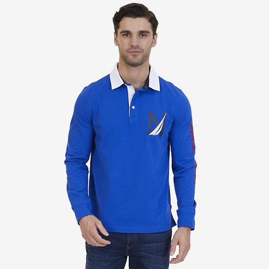 Nautica Big & Tall Heritage Logo Long Sleeve Polo Shirt - Bright Cobalt