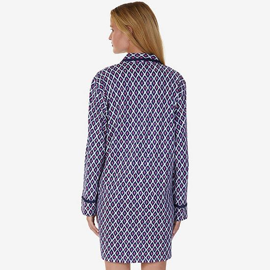 Printed Jersey Knit Sleep Shirt,pink,large