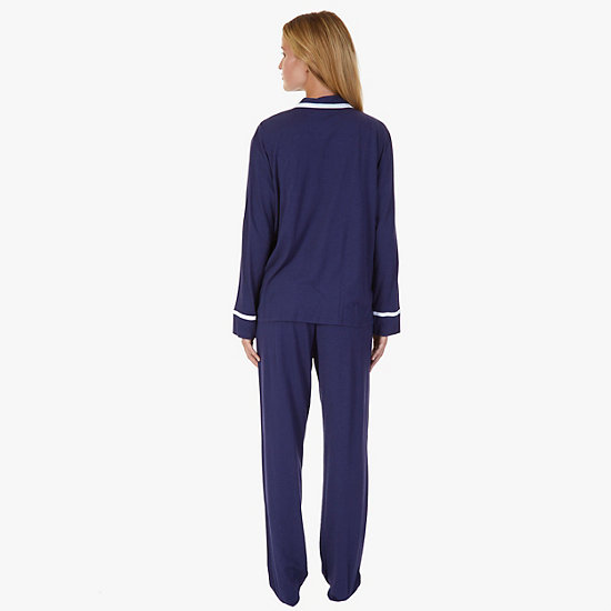 Contrast Piping Jersey Knit Pajama Set,Deep Sea Navy,large