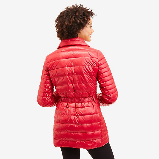 Long Down Puffer Coat,Nautica Red,large