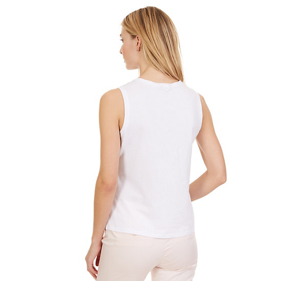 Solid Sleeveless Top,Bright White,large