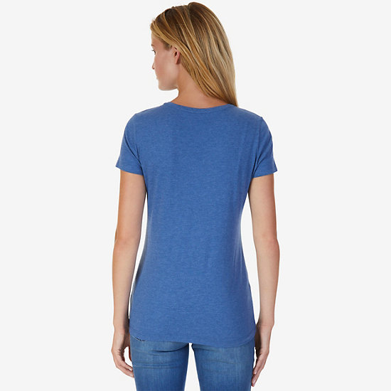 Double Anchor V-Neck Tee,Cool Breeze,large