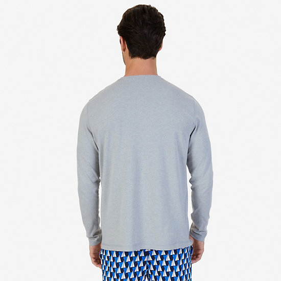 Slim Fit Long Sleeve Anchor Sleep T-Shirt,Grey Heather,large
