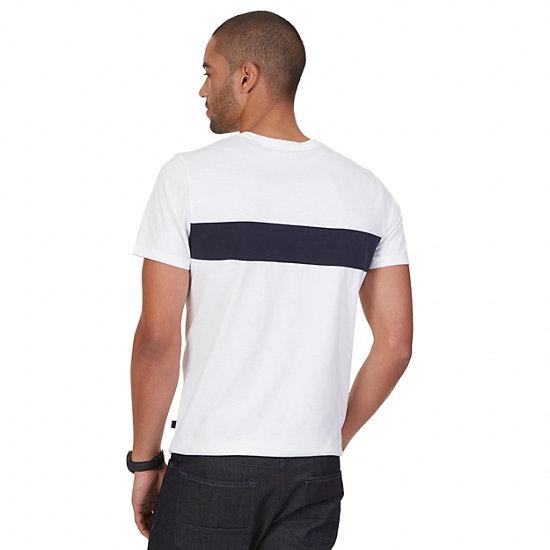 Pieced Stripe Cotton-Silk T-Shirt,Bright White,large