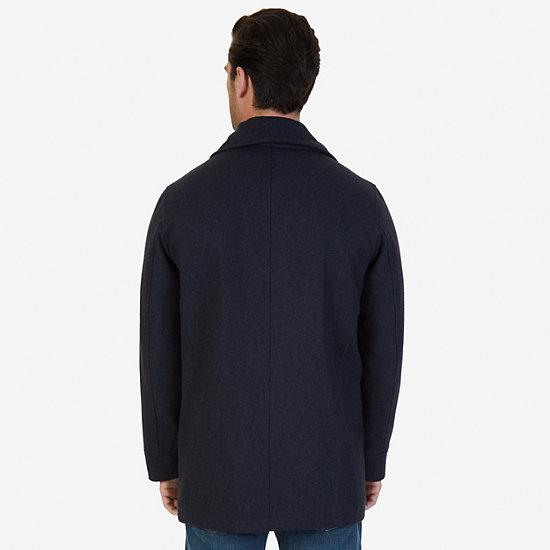 Button-Front Car Coat,Black,large