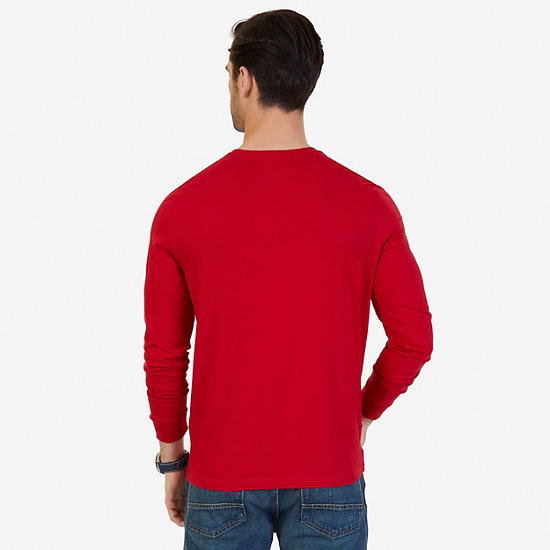 Solid Crew-Neck Long Sleeve T-Shirt,Nautica Red,large