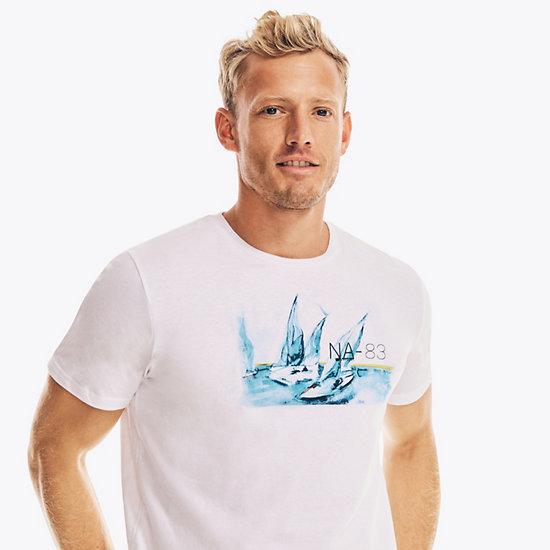 Watercolor Regatta Graphic T-Shirt,Bright White,large