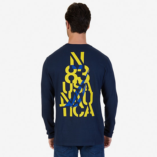 J Class Graphic Long Sleeve T-Shirt,Navy,large