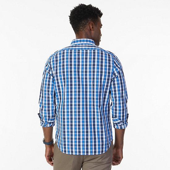 Slim Fit Navy Plaid Shirt,J Navy,large