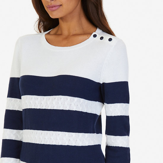 Cable Knit Striped Sweater,Marshmallow,large