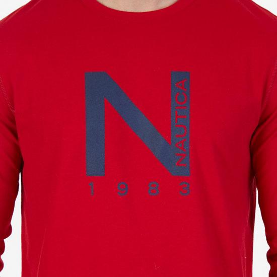 Slim Fit Long Sleeve Logo Sleep T-Shirt,Nautica Red,large
