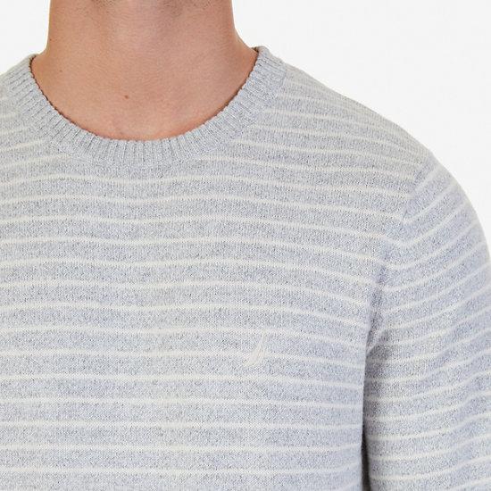 Snowy Small Striped Sweater,Limestone,large