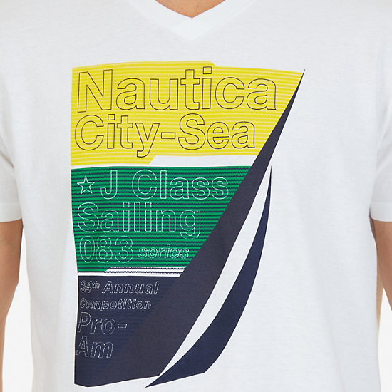 City-Sea Graphic V-Neck T-Shirt,Bright White,large