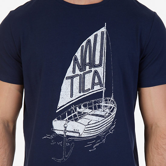 Nautica Boat Graphic T-Shirt,Navy,large