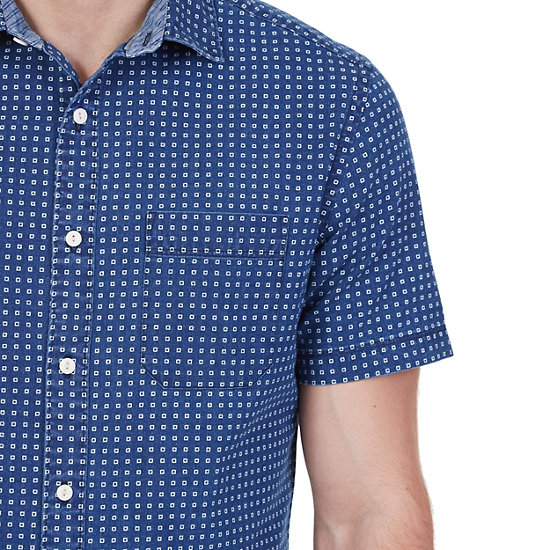 Printed Chambray Short Sleeve Shirt,Blue Moon,large