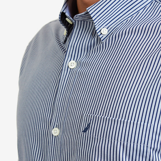 Wrinkle Resistant Striped Shirt,J Navy,large