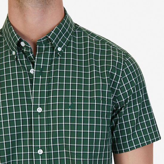 Classic Fit Wrinkle Resistant Pacific Plaid Short Sleeve Shirt,Forest,large