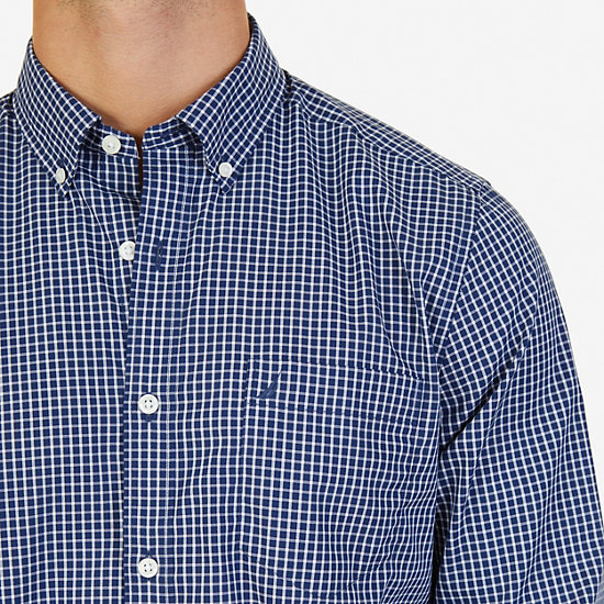 Classic Fit Wrinkle Resistant Windowpane Shirt,J Navy,large