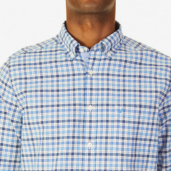 Classic Fit French Plaid Oxford Shirt,Blue Grass,large
