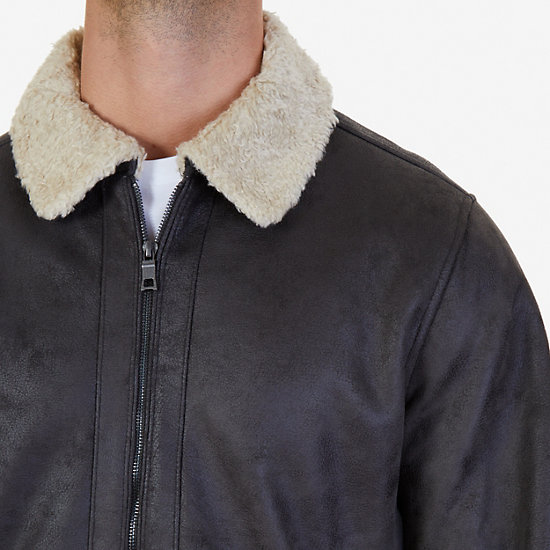 Faux Suede Shearling Jacket,Dark Brown,large