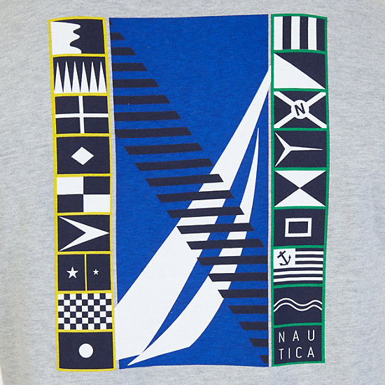 Sailing Flags Graphic T-Shirt,Grey Heather,large
