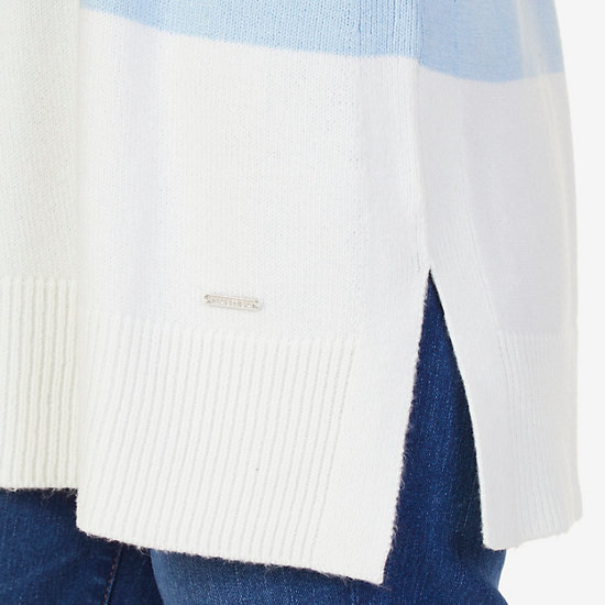 Colorblocked Turtleneck Sweater,Clear Skies Blue,large