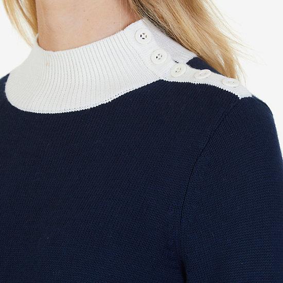 Colorblock Mock Neck Sweater,Dreamy Blue,large