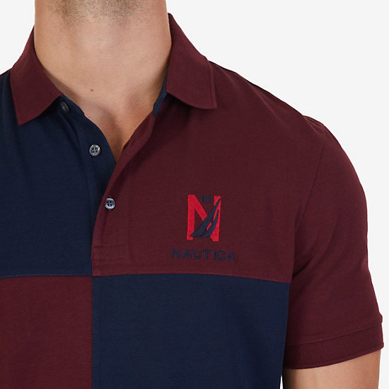 Classic Fit Colorblocked Grid Logo Polo Shirt,Royal Burgundy,large