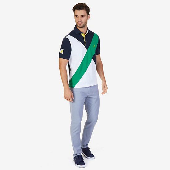 Classic Fit Diagonal Pieced Polo Shirt,Light Sonic,large