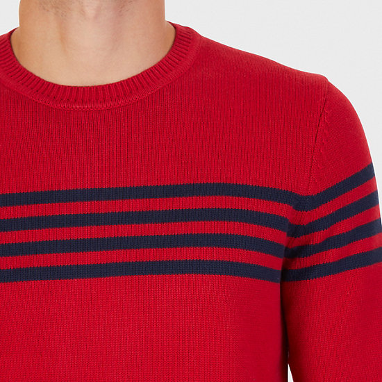 Striped Crew Sweater,Nautica Red,large