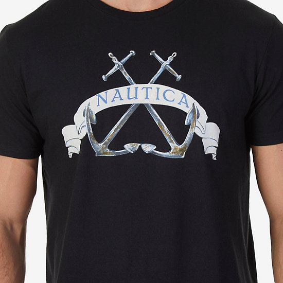 Double Anchor Graphic T-Shirt,True Black,large