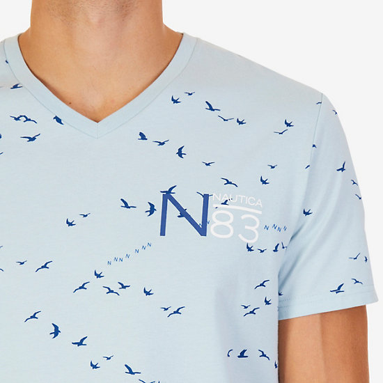 Seagulls Graphic T-Shirt,Bay Blue,large