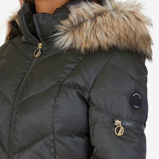 Faux Fur Hood Diamond Quilt Puffer Jacket,Light Olive,large