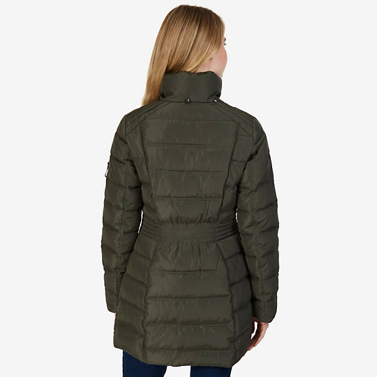 Galaxy Faux Fur Hooded Puffer Coat,Light Olive,large