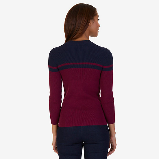 Color Block Mock Neck Sweater,Port Scarlet,large