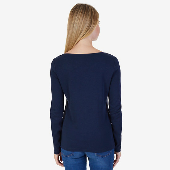 Solid Laced Neck Top,Dreamy Blue,large
