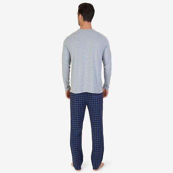 Buffalo Plaid Knit Pajama Set,Grey Heather,large