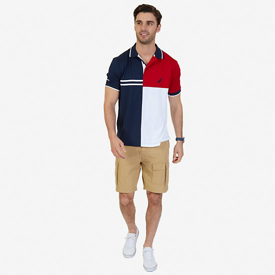 Classic Fit Pieced Color Blocked Performance Polo Shirt,Navy,large
