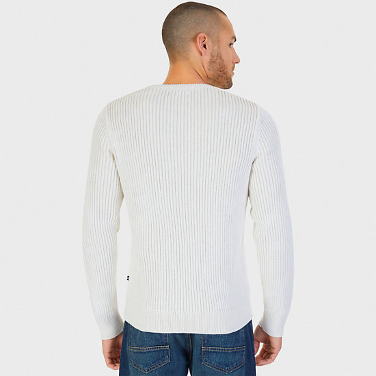 Plaited Cable Crew Sweater,Marshmallow,large