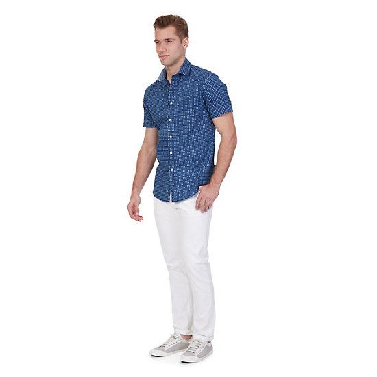 Printed Chambray Short Sleeve Shirt,Blue Moon,large