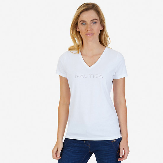 Studded V-Neck Tee,Bright White,large