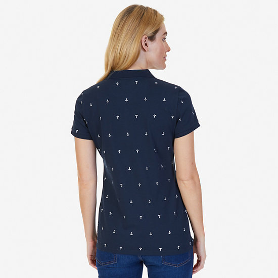 Anchor Stretch Pique Polo Shirt,Navy,large